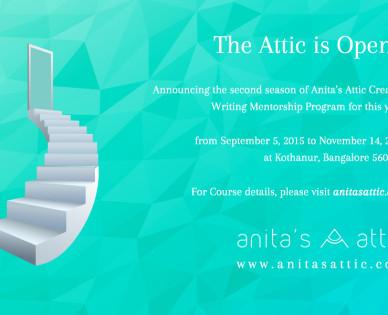 Anita's Attic Creative Writing Course Mentorship program Sep 5- Nov 14, 2015